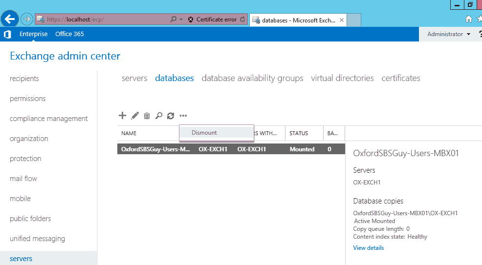 Exchange 2013 - EAC - servers databases - dismount