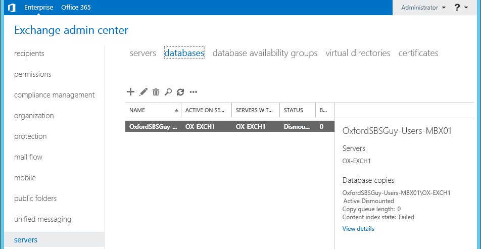 Exchange 2013 - EAC - servers - databases - dismounted