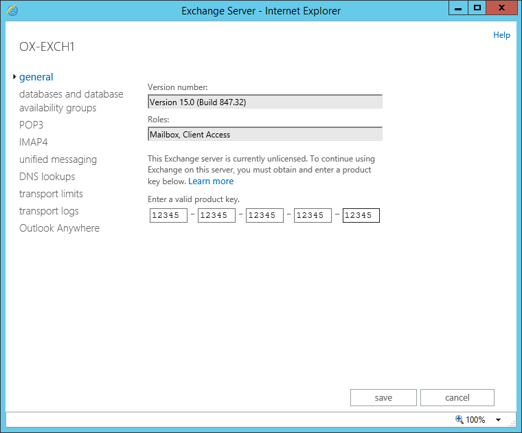 Exchange 2013 - exchange admin center - servers - enter product key -exchange server - general