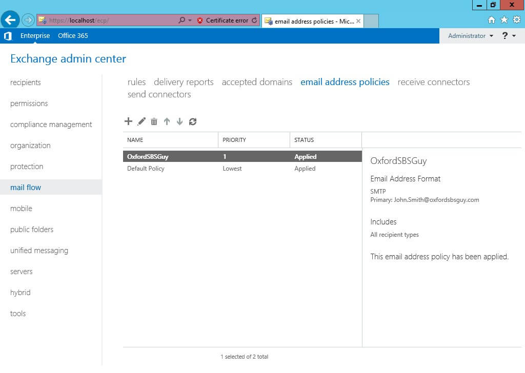 Exchange 2013 -mail flow- email address policies - Applied