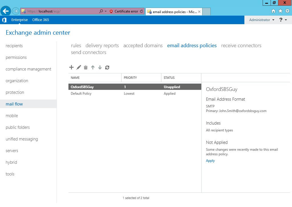 Exchange 2013 -mail flow- email address policies - click Apply