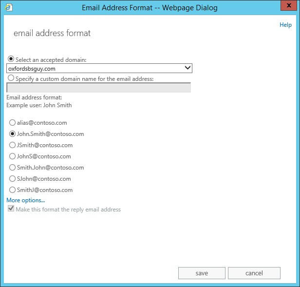 Exchange 2013 - mail flow- email address policies - new email address policy - email address format - save