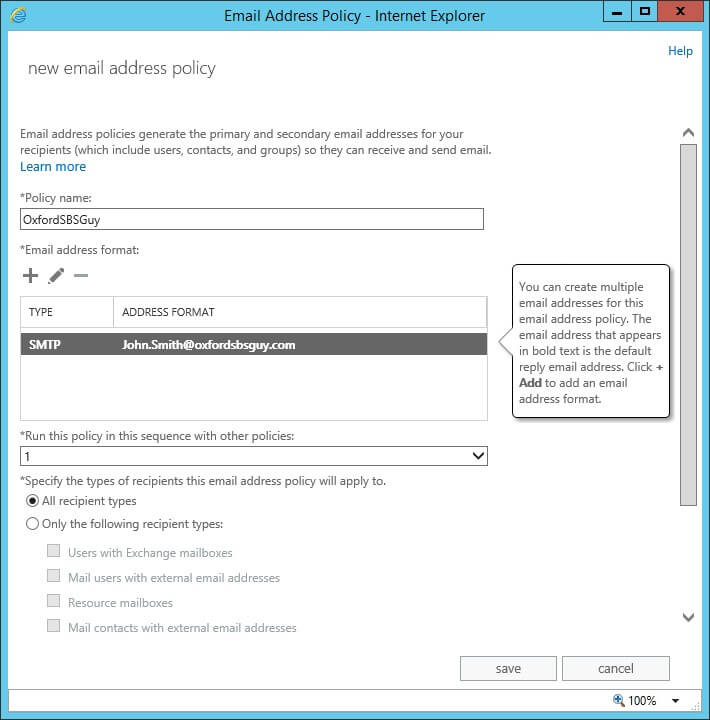 Exchange 2013 - mail flow- email address policies - new email address policy - save