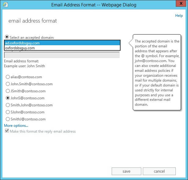 Exchange 2013 - mail flow- email address policies - new email address policy - select an accepted domain