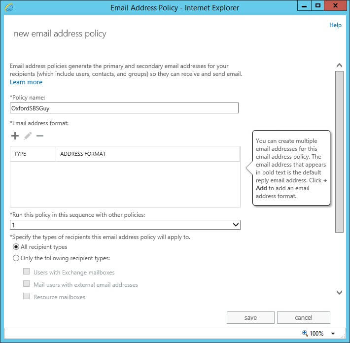 Exchange 2013 - mail flow- email address policies - new email address policy