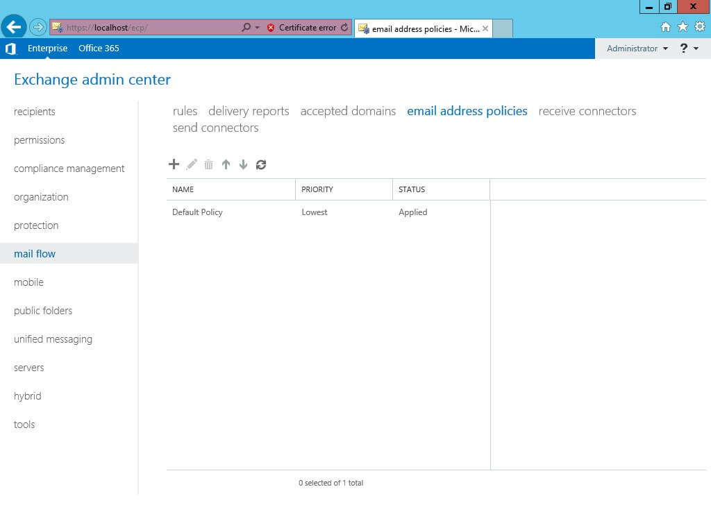 Exchange 2013 -mail flow- email address policies