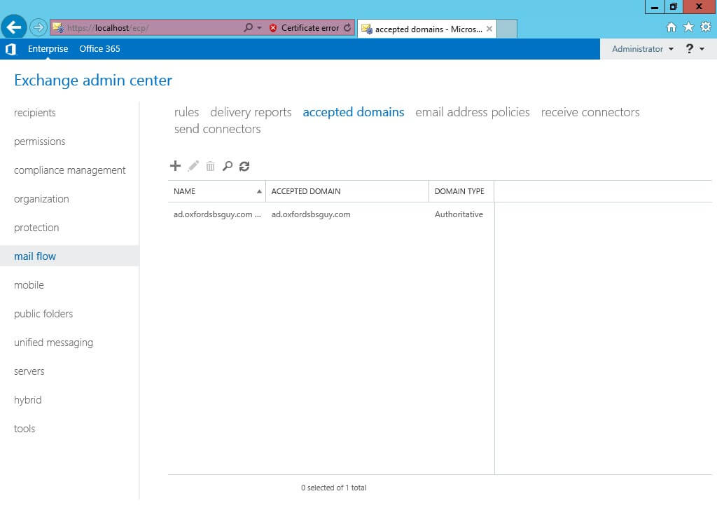Exchange Admin Center - mail flow - accepted domains full screen