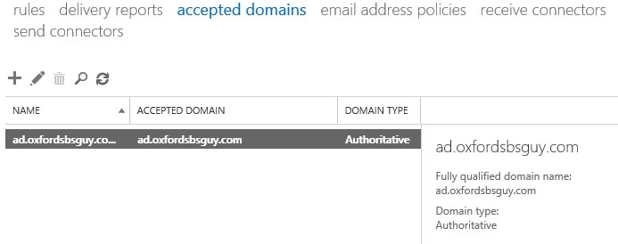 Exchange Admin Center - mail flow - accepted domains