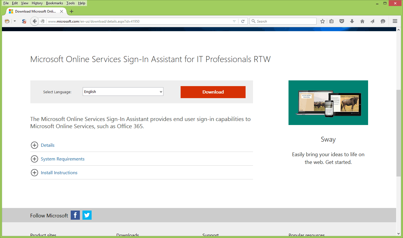 Microsoft Online Services Sign-In Assistant Download