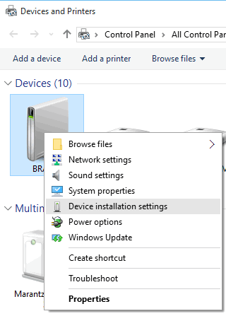 Windows 10 - Start - Settings - Devices - Devices and Printers - Device installation settings