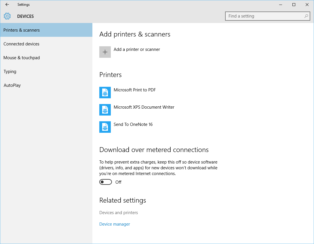Windows 10 - Start - Settings - Devices - Devices and Printers