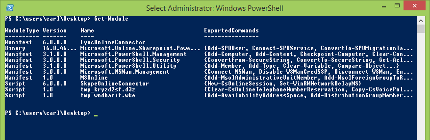 Windows PowerShell connected to Office365 get-module