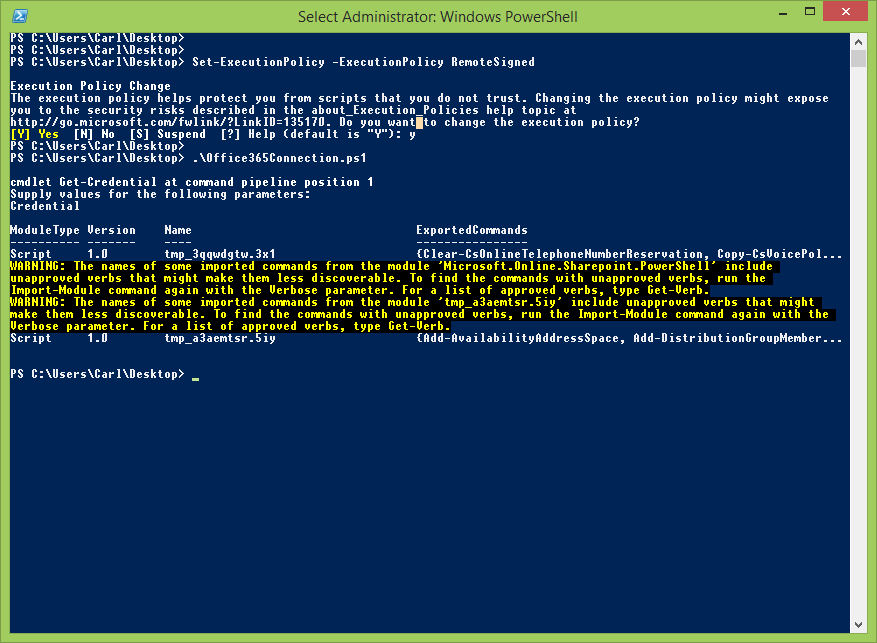 Windows PowerShell connected to Office365