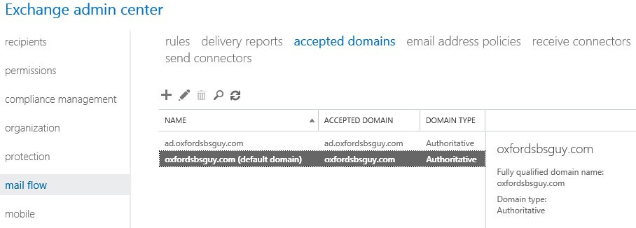 Exchange 2013 - accepted domain -default domain changed