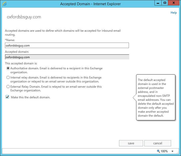Exchange 2013 - make this the default domain