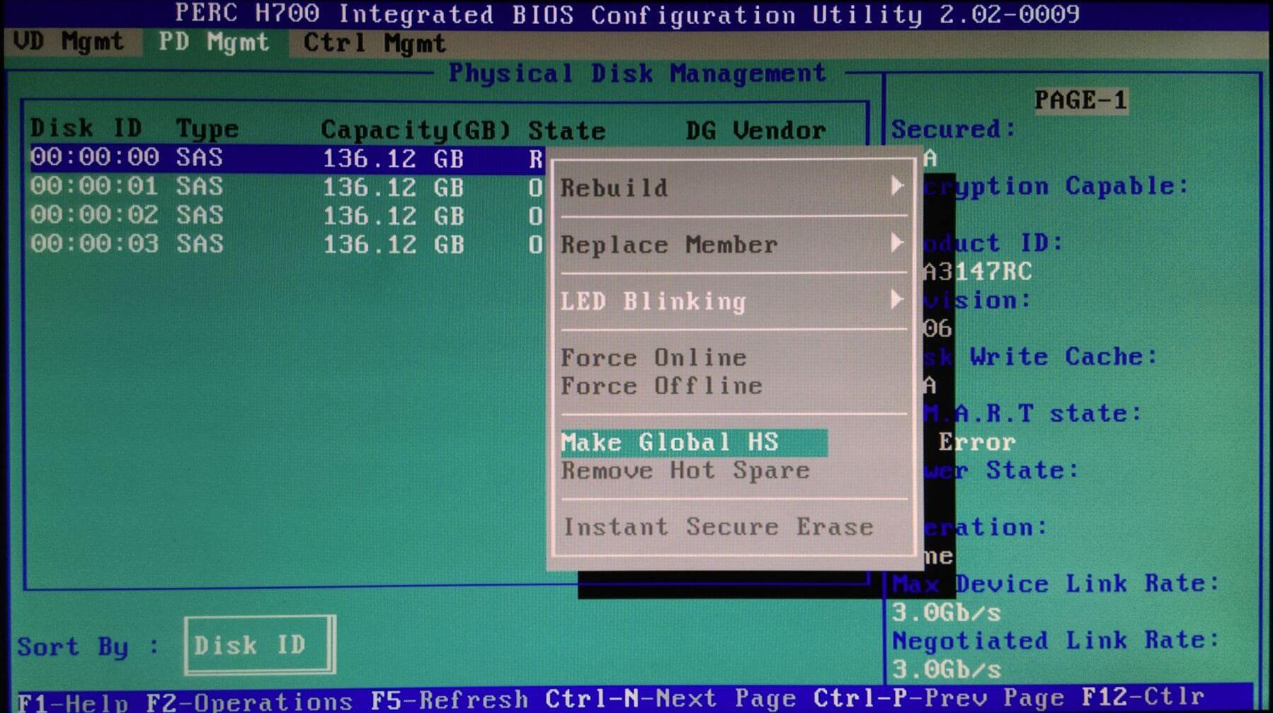 PERC H700 Physical Disk Management - disk 0 F2 Make Global HS