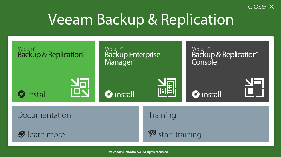 Veeam Backup and Replication Spalsh Screen