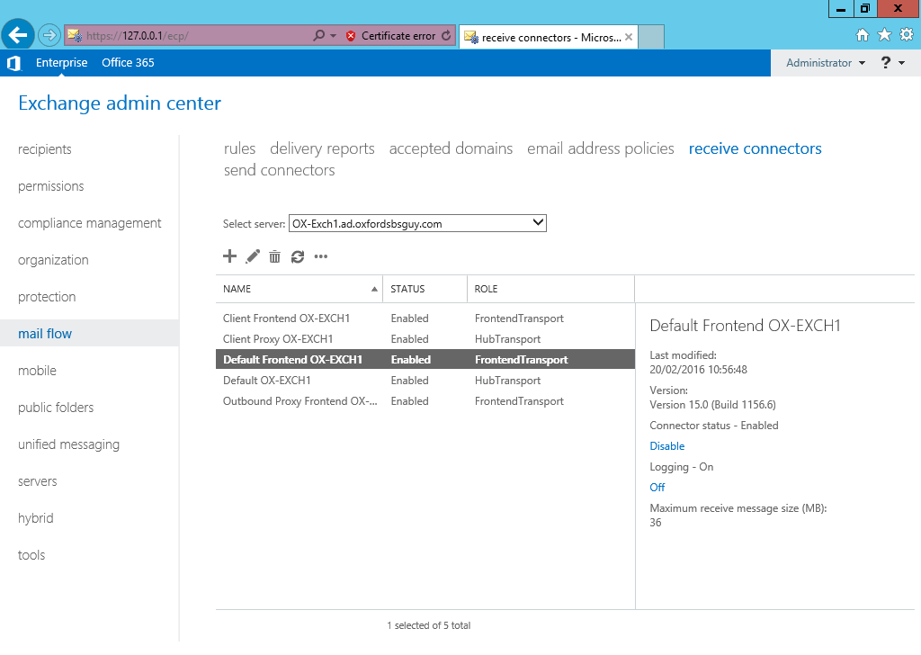 Exchange 2013 - ECP - mail flow - receive connectors