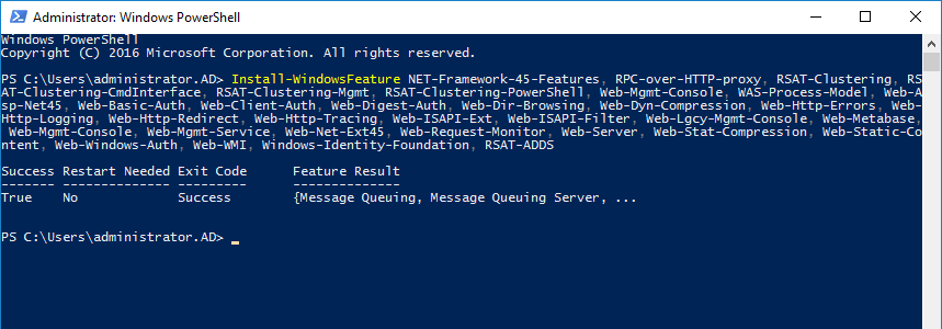 install-exchange-2016-windows-components-using-powershell-complete