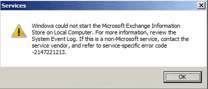message store msems verify that the microsoft exchange