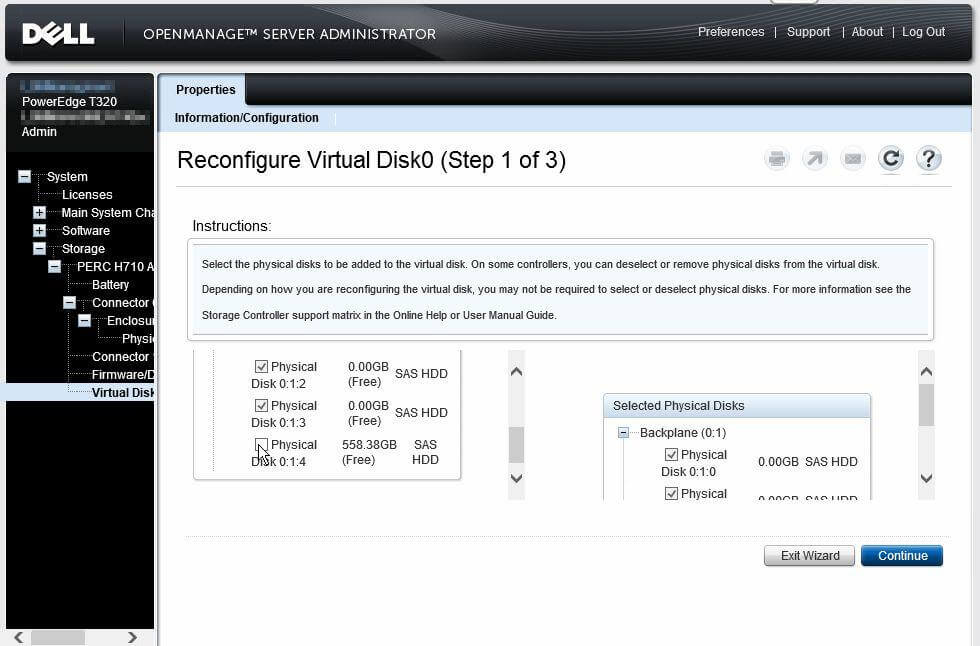 Dell OpenManage Server Administrator - Reconfigure Virtual Disk0 step 1 of 3