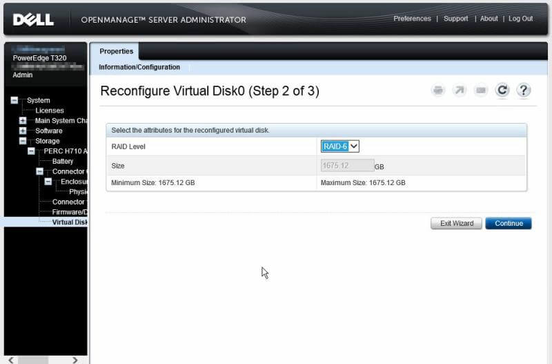 Dell OpenManage Server Administrator - Reconfigure Virtual Disk0 step 2 of 3