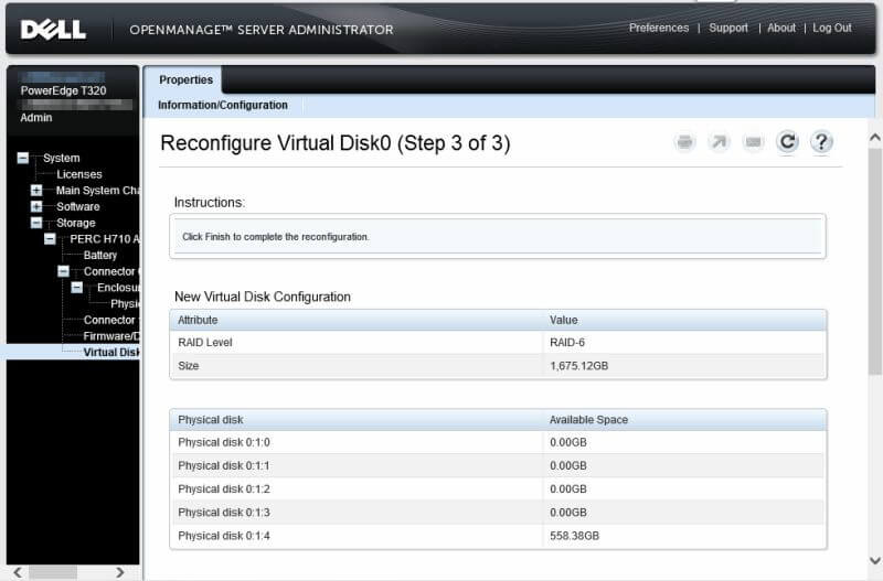 Dell OpenManage Server Administrator - Reconfigure Virtual Disk0 step 3 of 3 a
