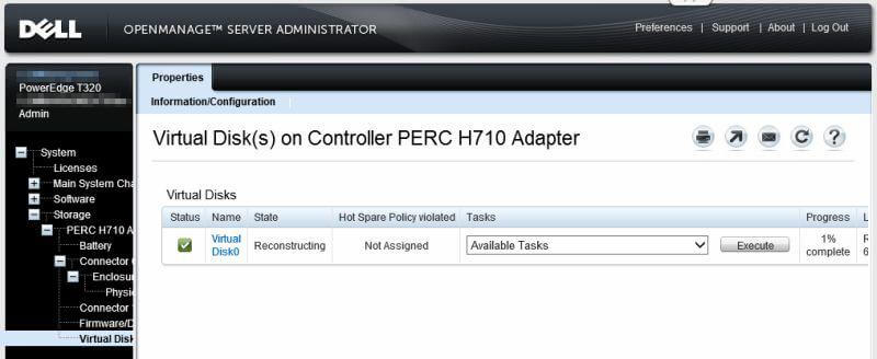 Dell OpenManage Server Administrator - Virtual Disks on Controller PERC H710 Adapter - Progress