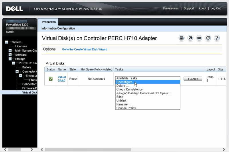 Dell OpenManage Server Administrator - Virtual Disks on Controller PERC H710 Adapter