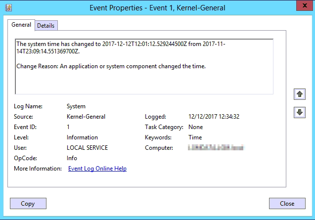 Event Log ID 1 Kernel-General The system time has change to change reason an application or system component changed the time