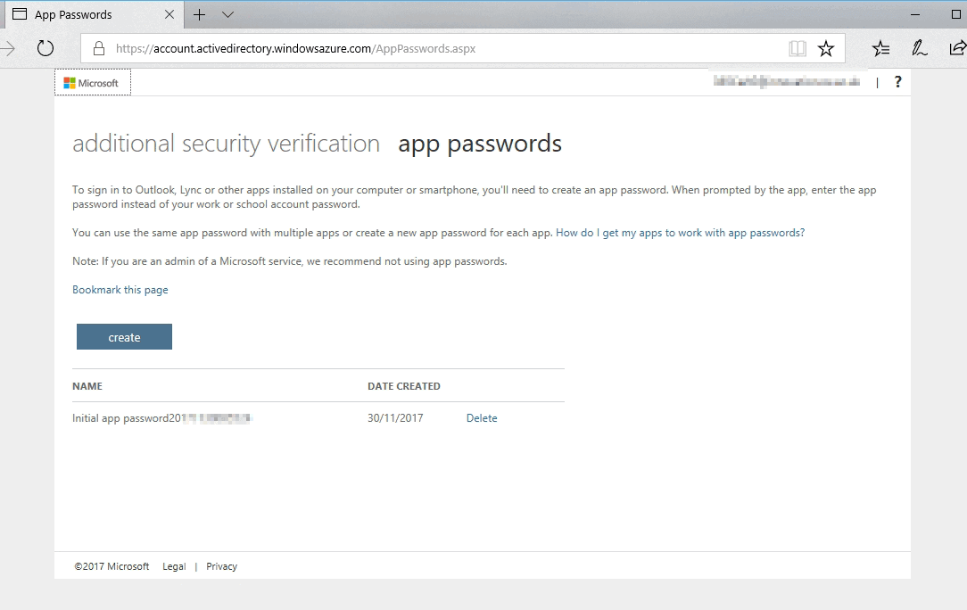 App Passwords - additional security verification